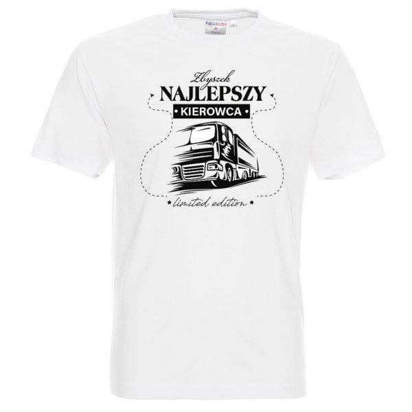 Biała męska koszulka z napisem najlepszy kierowca