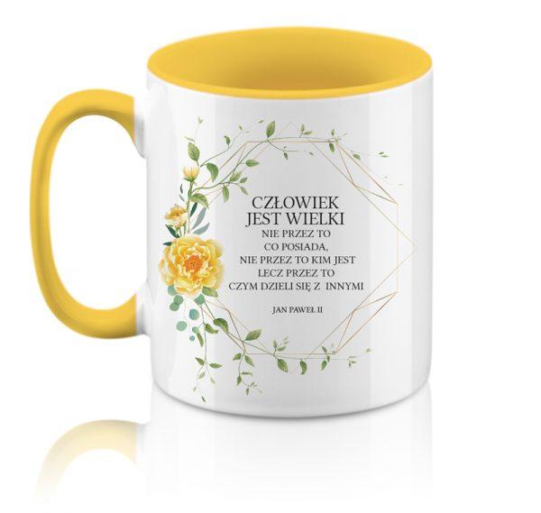 Kubek żółty z cytatem Jana Pawła II