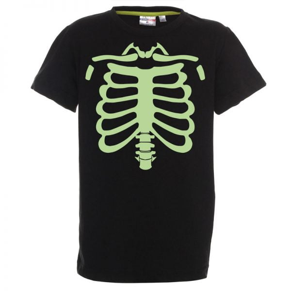 Koszulka czarna dla chłopca na halloween szkielet świecąca