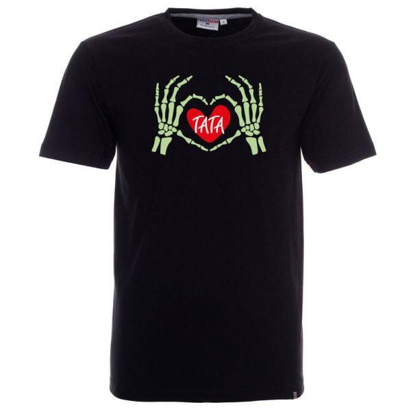 Męska czarna koszulka z dłońmi szkieleta tworzącymi serduszko.