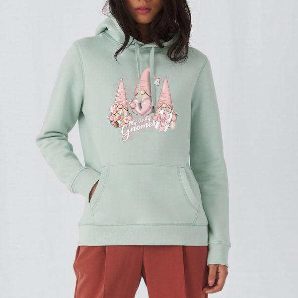 Miętowa bluza damska z nadrukiem