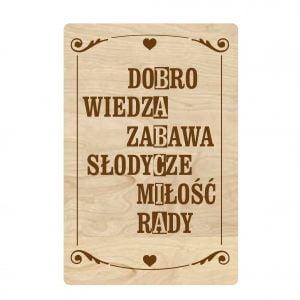Drewniana tabliczka dla babci w formie krzyżówki
