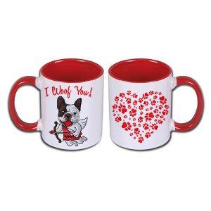 Kubek z czerwonym uchem walentynki pies amorek i serduszko z łapkami