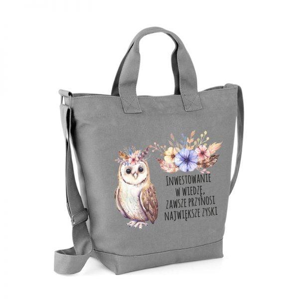 Szara torba Dzień Nauczyciela z sową